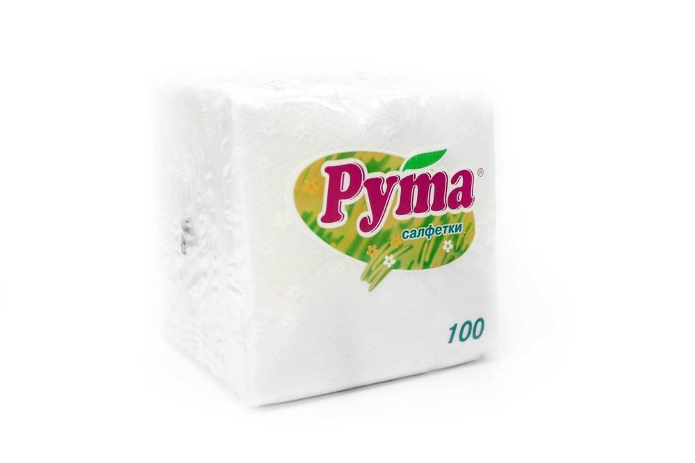 Салфетки бумажные, Рута 24*24, 100шт., белые