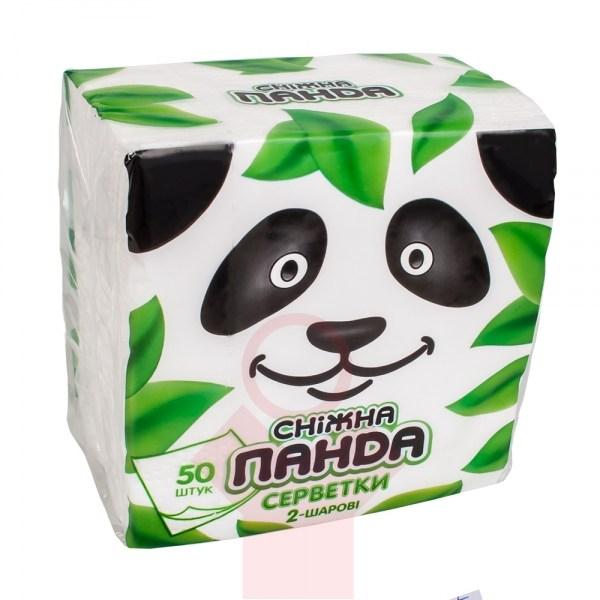 Салфетки бумажные Снежная панда 24*24,50шт,белые,1шт