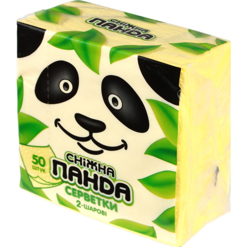 Салфетки бумажные Снежная панда 24*24,50шт,жёлтые,1шт