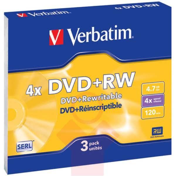 Компакт-диск DVD-RW VERBATIM, 4,7GВ, 4х Slim 1 шт.