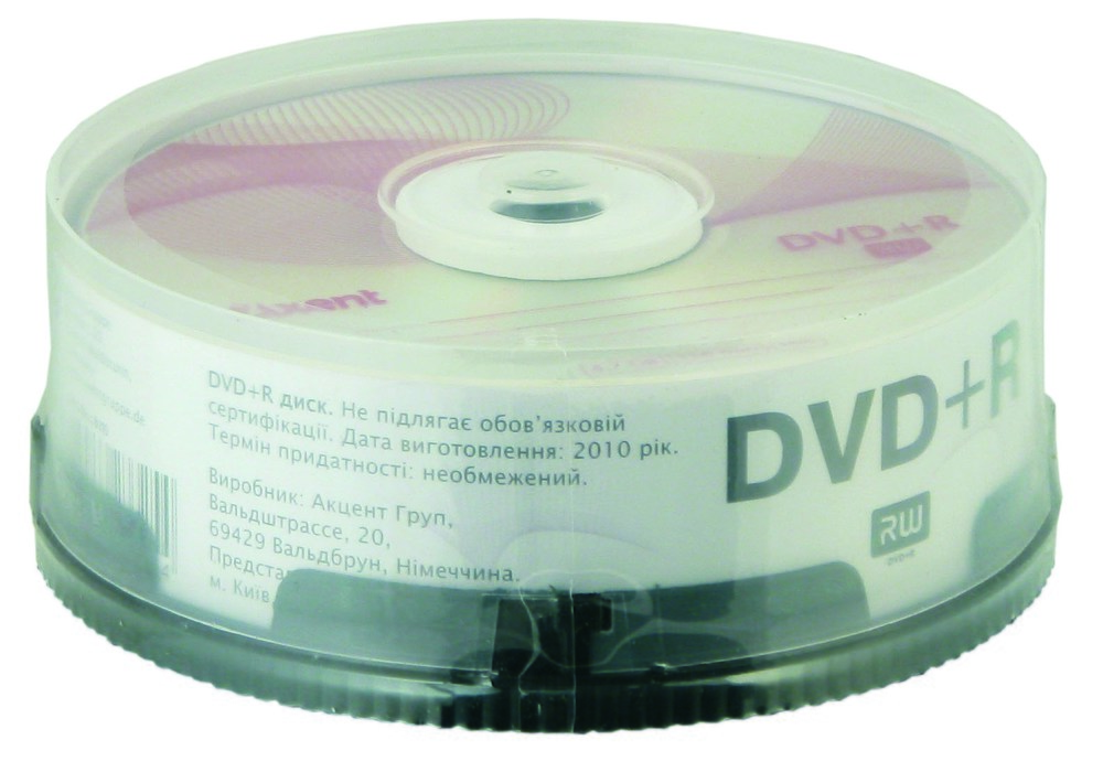 Компакт-диск DVD+R 4,7GB/120min 16X, 25 шт, cake