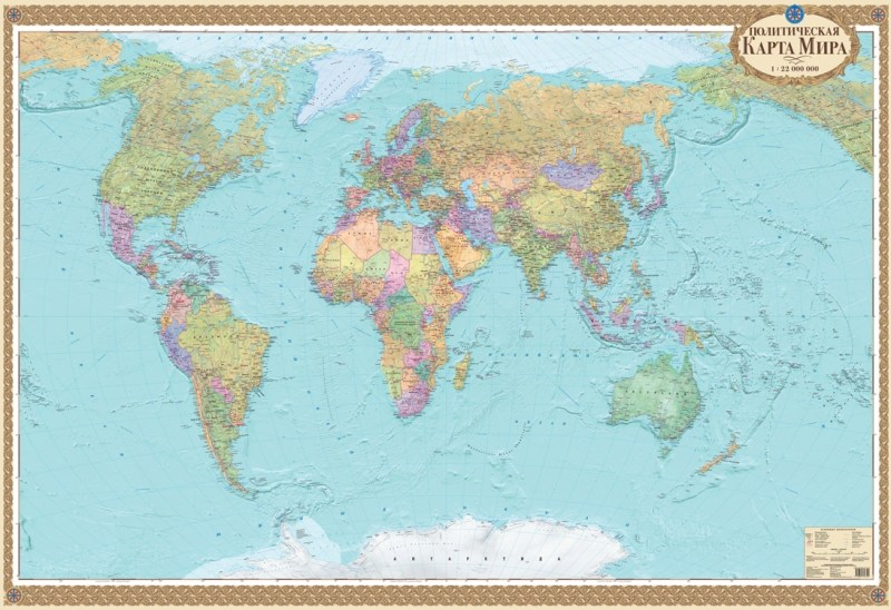 Карта світу політична 1:22 000 000, 158х108,  рос. мова