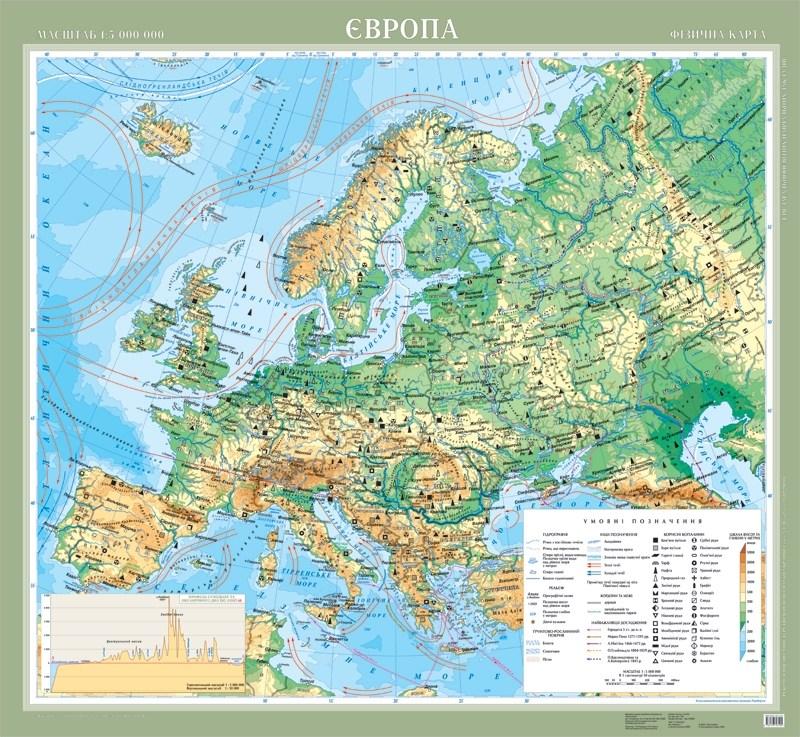 Карта физическая Европа.м-б 1:5 000 000 картон ламин.108*118см УКР