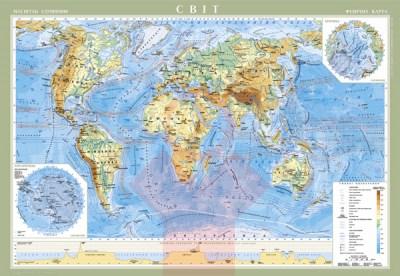 Карта світу фізична, 1:22 000 000, 158*108, стінна, картон на планках