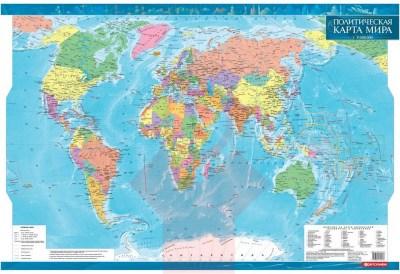 Карта світу політична, 1:35 000 000, 68*98см., стінна, папiр ламiн. рос